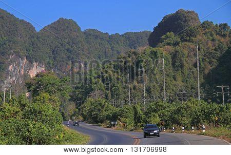 Highway In Scenery Krabi Province