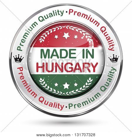 Made in Hungary. Premium Quality glossy elegant button / icon / label, with Hungarian national flag colors and map.