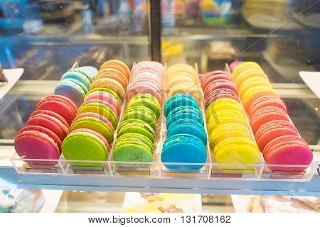 French Macarons For Sale On Glass Showcase