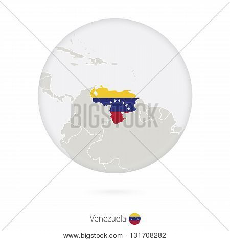 Map Of Venezuela And National Flag In A Circle.