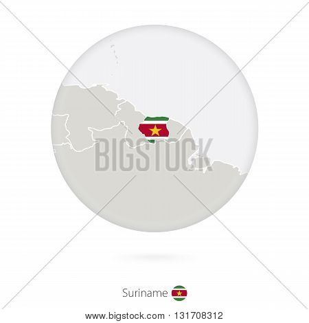 Map Of Suriname And National Flag In A Circle.