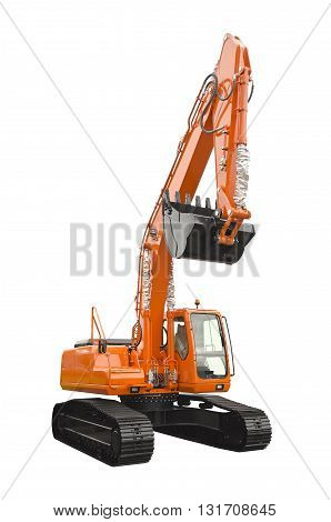 Big excavator isolated on a white background