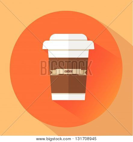 Flat Style Icon with Long Shadow. coffee. Concept for food.
