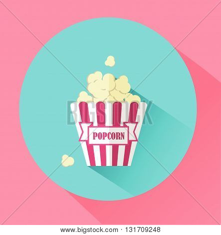Flat Style Icon with Long Shadow. popcorn. Concept for food.