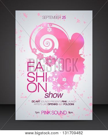 Vector stylish banner poster and flyer for fashion show with pink silhouette of beautiful woman in profile with floral hair and thin headline on the left