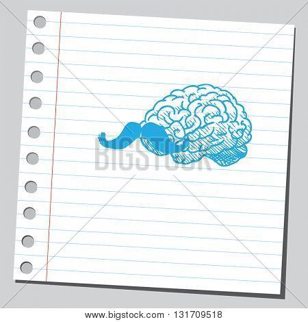 Brain with mustache