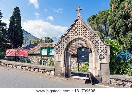 TAORMINA ITALY - MAY 21: Entrance of the Anglican Church of Taormina on May 21 2016 at the island Sicily Italy