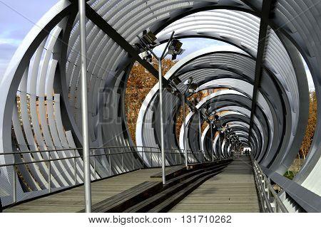 Vanguard bridge located in Madrid, with very modern style