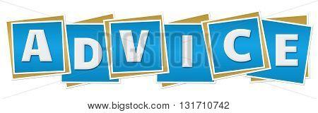 Advice text alphabets written over blue background.