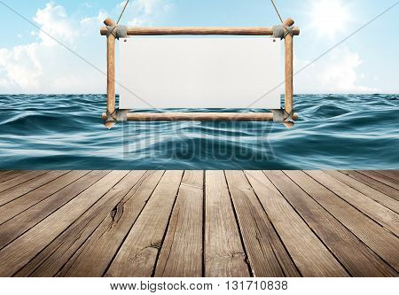 Wood table and hanging sign on blue sea background
