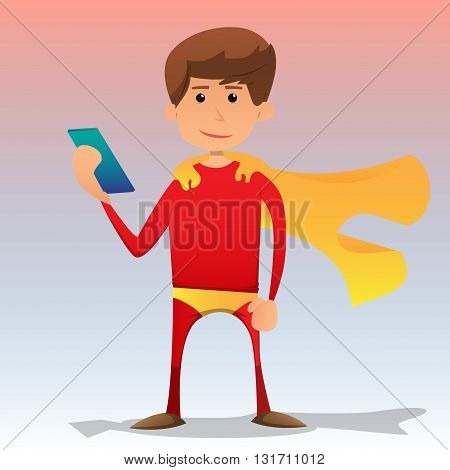 Vector illustrated cartoon superhero holding a smartphone.