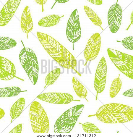 Vector Graphic Seamless Pattern From Silhouette Leaves