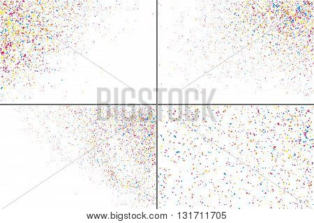 Colorful Explosion Of Confetti.  Colorful Grainy Texture Vector. Set Vector Texture.