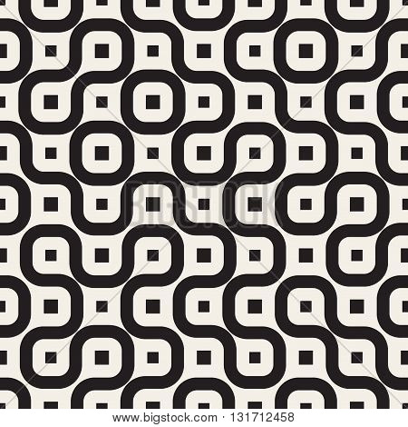 Vector Seamless Black And White Irregular Rounded Lines Pattern Abstract Background