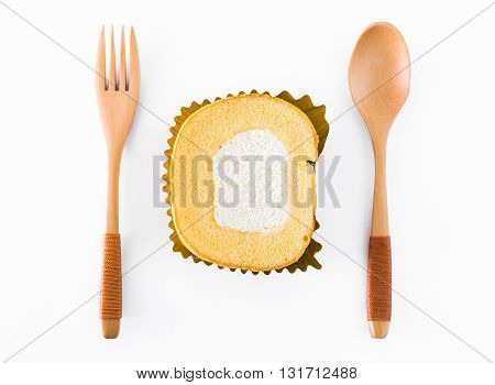 Cake with a spoon and fork isolated white background.