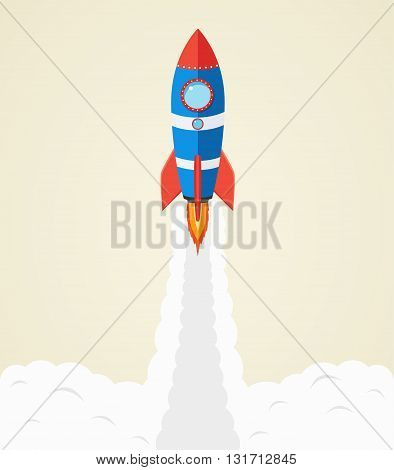 Rocket launch into space. Startup business concept.