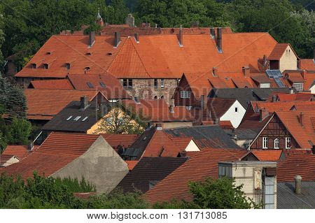 The red Rooftops of Herleshausen in Germany
