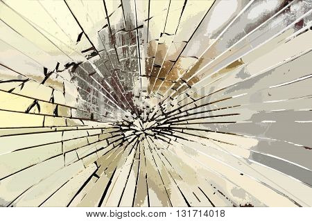 Glass broken by a strong impact caused by a stone or something similar