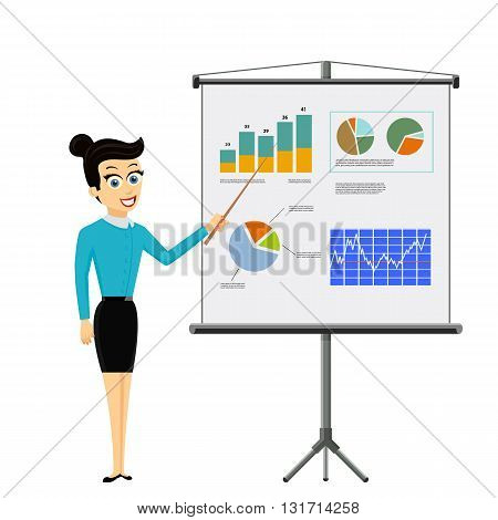 Girl shows on a board financial graphs and charts. Business report. Stock vector illustration.