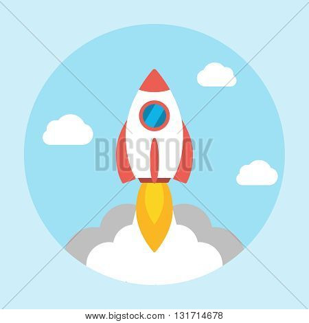 Rocket launch icon flat. Start up concept