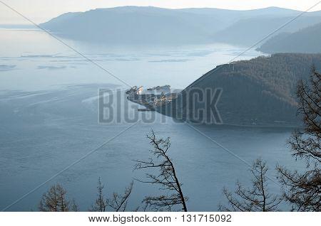 View of source of Angara River and calm surface of Lake Baikal