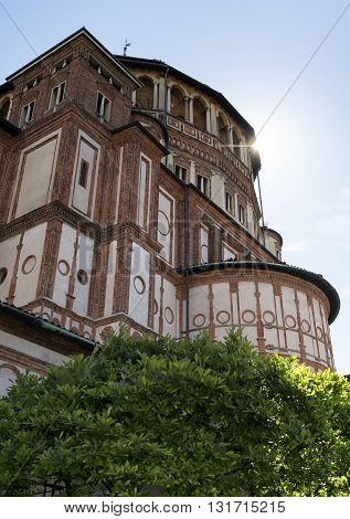 Cloister of the medieval church of Santa Maria delle Grazie in Milan (Lombardy Italy)
