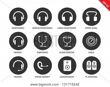 Headphones vector icons set. Music and technology items. Multimedia concept, equipment, headphones, headset, earphones, cable, pc speakers. Isolated on white background