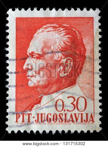 ZAGREB, CROATIA - SEPTEMBER 13: Stamp printed in Yugoslavia shows a portrait of Yugoslavian President Josip Broz Tito, circa 1967, on September 13, 2014, Zagreb, Croatia