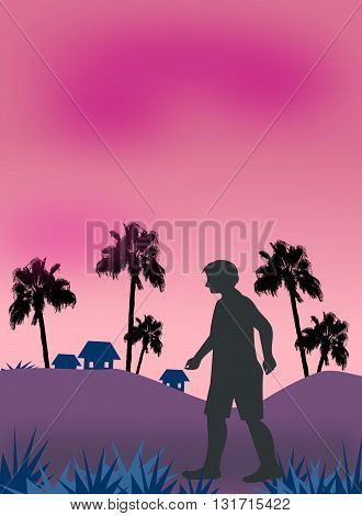 A person who walks alone, in a landscape of palm trees, at dusk.