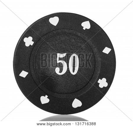 Black poker chip close-up isolated on white background.
