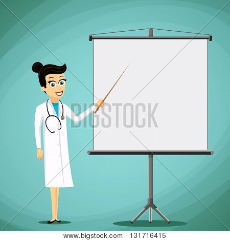Woman doctor shows pointer on the white board. Stock vector illustration.