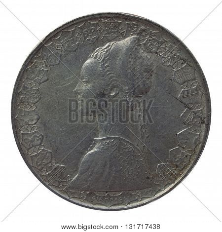 Close up of a vintage Italian coin