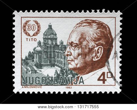 ZAGREB, CROATIA - JUNE 14: A stamp printed by Yugoslavia dedicated to the 1983 The 30th Anniversary of the Election of President Josip Bro Tito, circa 1983, on June 14, 2014, Zagreb, Croatia
