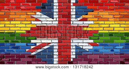 Brick Wall Great Britain and Gay flags - Illustration, Rainbow flag on brick textured background,  Flag of gay pride movement painted on brick wall, Abstract grunge United Kingdom flag and LGBT flag