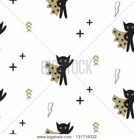 Superhero in gold cape with lightning stars seamless kid pattern. Hero boy in mask black and white pattern for baby textile prints.