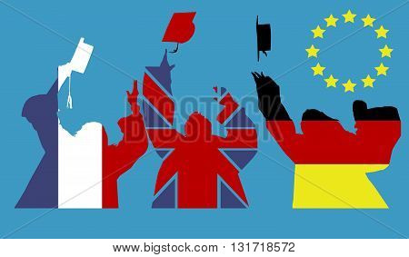 Vector silhouette of people who have a backpack euro flag