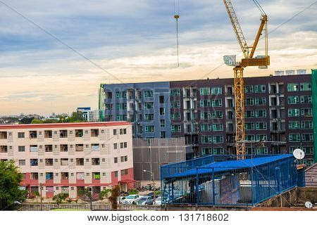 Construction Of Conduminium Building, New Colorful Low Rise Apartment