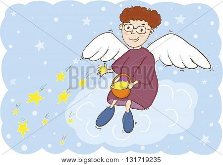 Vector illustration of angel with basket and stars
