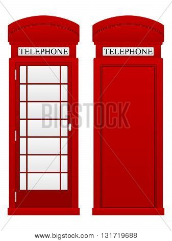 Telephone box on a white background. Vector illustration.