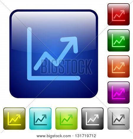 Set of color line graph glass web buttons.