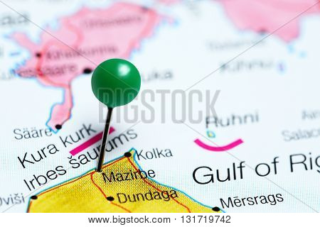 Mazirbe pinned on a map of Latvia