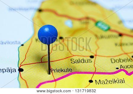 Priekule pinned on a map of Latvia