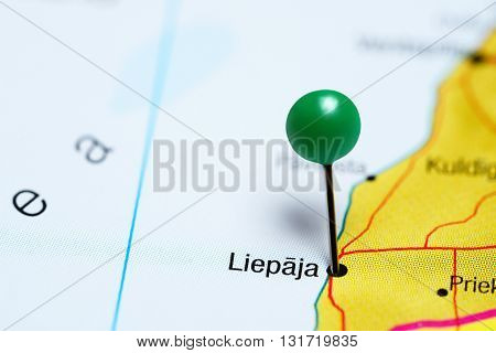 Liepaja pinned on a map of Latvia