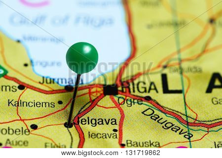 Jelgava pinned on a map of Latvia