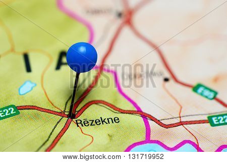 Rezekne pinned on a map of Latvia