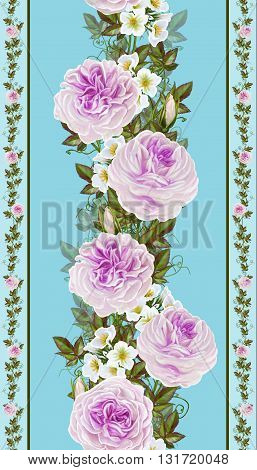 Flower garland of roses and camellias. Vertical floral border. Pattern seamless.