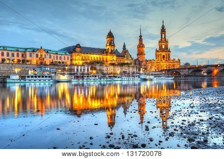 View of the old town of Dresden over river Elbe, Germany. HDR image.