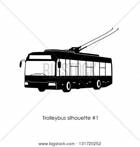 Black silhouette of trolley bus on a white background. Vector illustration