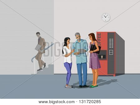 Polygonal office life creative vector illustration. Coffee break. Polygon people collection.