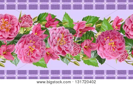 Floral background. Horizontal floral border. Pattern seamless. composition of pink roses and crimson cyclamen. Floral background.